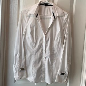 Express stretch V neck button down blouse shirt